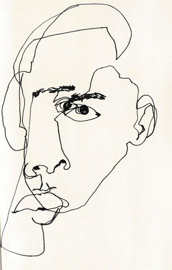 Line Drawing Angry Face : Continuous line blind contour by february james