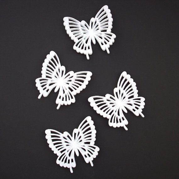 Set of 4 White Butterflies Wall Decor Hangings - Four - Vintage ...
