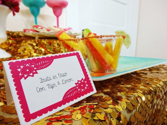 Place cards or Food tents Fiesta  - DIY printable - Papel Picado - Editable in MS Word - Instant Dow