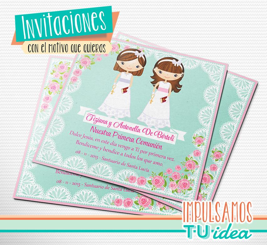 Invitacion comunion mellizas cotillon comunion estampita - Decoracion comunion original ...