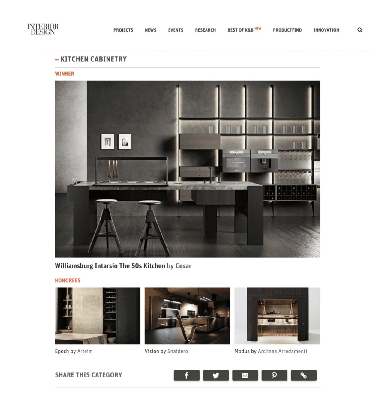 Cesar Wins Best Of Year Award Model Kitchen Design Award Winning Kitchen Interior Design Magazine