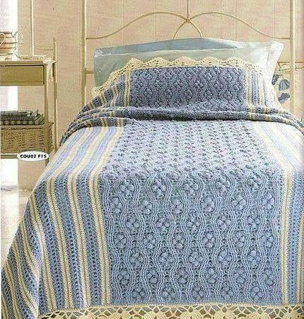 CTejidas [Crochet y Dos Agujas]: Patrón #1840: Hermosa Colcha a ...