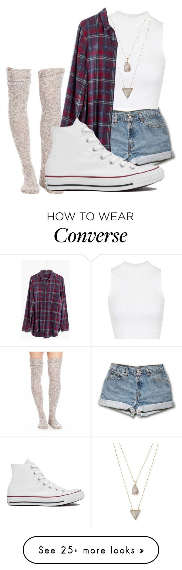 """""""Shorts w/ plaid and converse"""" by anasush on Polyvore featuring moda, Free People, Topshop, Panacea, Madewell y Converse"""