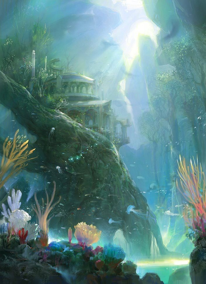 Underwater Ruins Fantasy Art Landscapes Fantasy Landscape Fantasy Concept Art