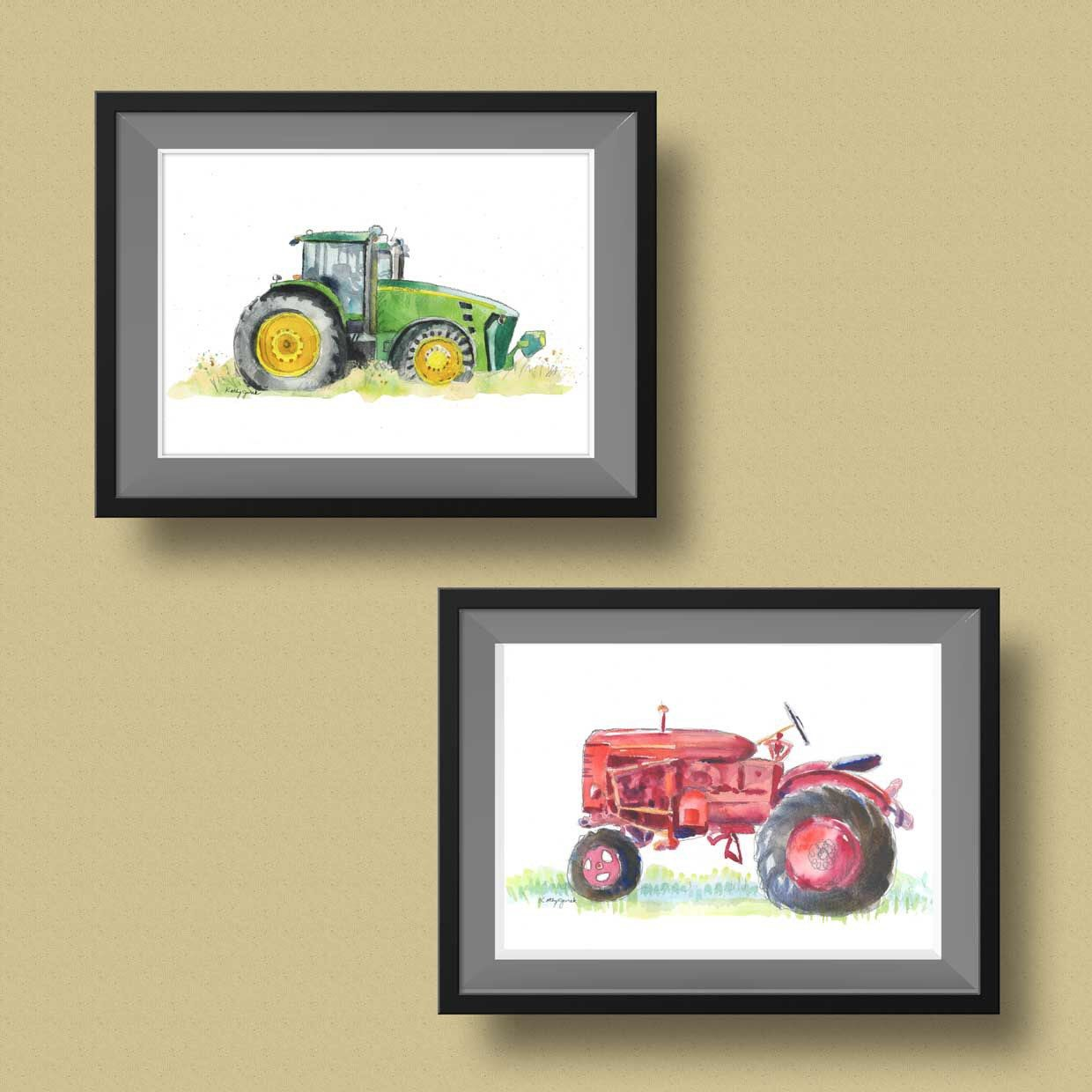 Red Farm Tractor Print - Vintage Farm Tractor Watercolor Painting ...