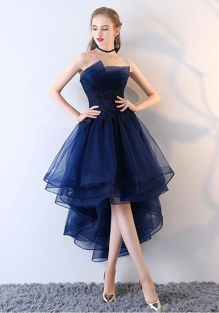 Navy Blue Evening Dresses Short Front Long Back Party Gowns Lace Applique Strapless vestidos de festa Formal