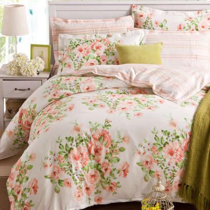 Ostaa Beige puuvilla vuodevaatteet Set kukka tulostaa kaksi tyyny Shams Twill kutoa King Size + Ilmainen toimitus