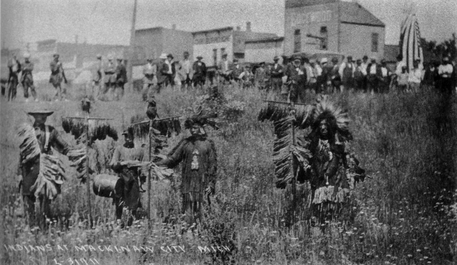 mackinaw tribe of chippewa indians in mackinaw city during a