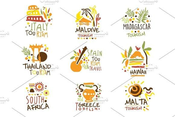 touristic travel agency set of colorful promo sign design templates with different tourism countries and their famous objects template
