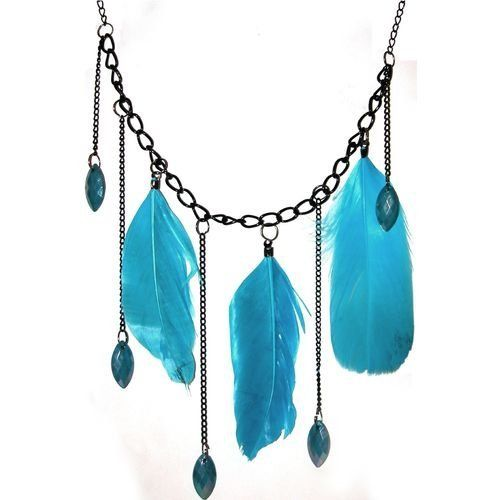 "28"" Chain With 5"" Drop, 3 Feather Necklace"