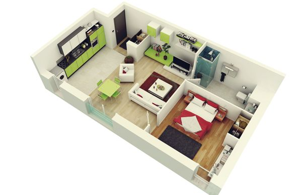 3D cropped floor plan เกือบจะดีละ ติดตรงห้องน้ำ!! House Plans 1