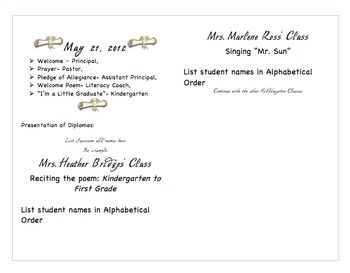 Kindergarten Graduation Program Template Kindergarten Graduation