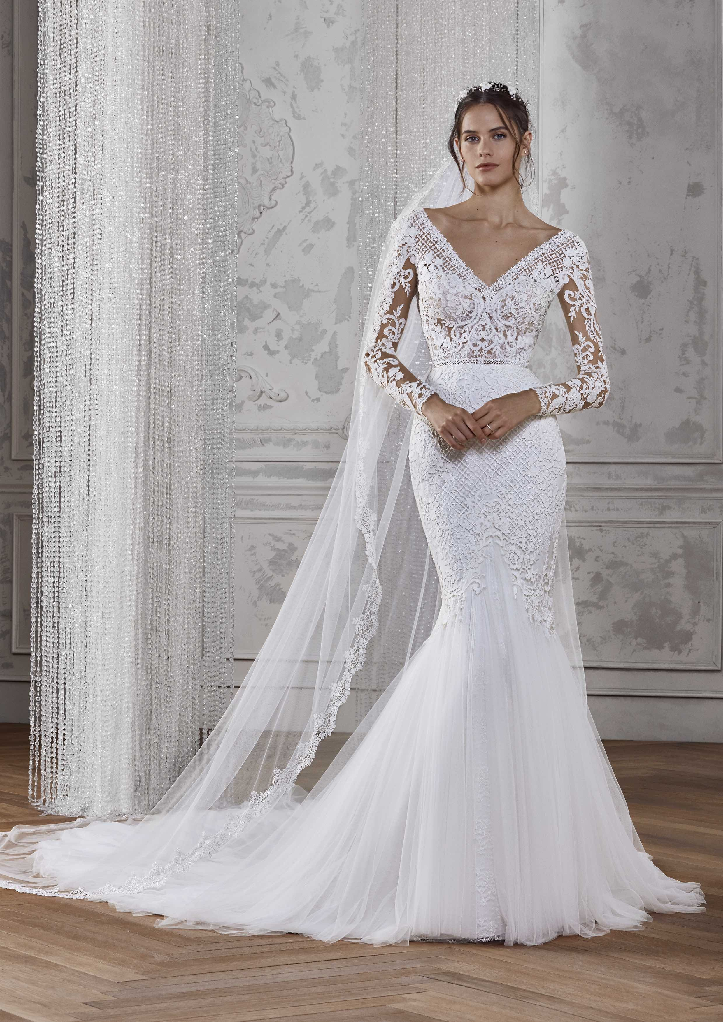 Kadie Off White Wedding Dresses Fitted Lace Wedding Dress