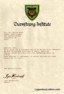 Durmstrang Institute Acceptance Letter When we first hear of it, it is run by headmaster professor karkaroff. durmstrang institute acceptance letter