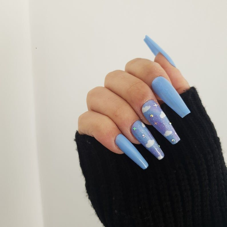 Cloudy Skies Cloud Luxury Press On Nails Etsy In 2020 Best Acrylic Nails Gorgeous Nails Long Acrylic Nail Designs