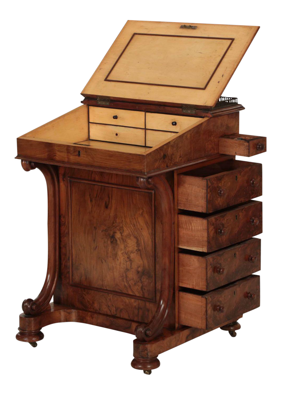 19th Century William Iv Walnut Leather Davenport Antique Desk In