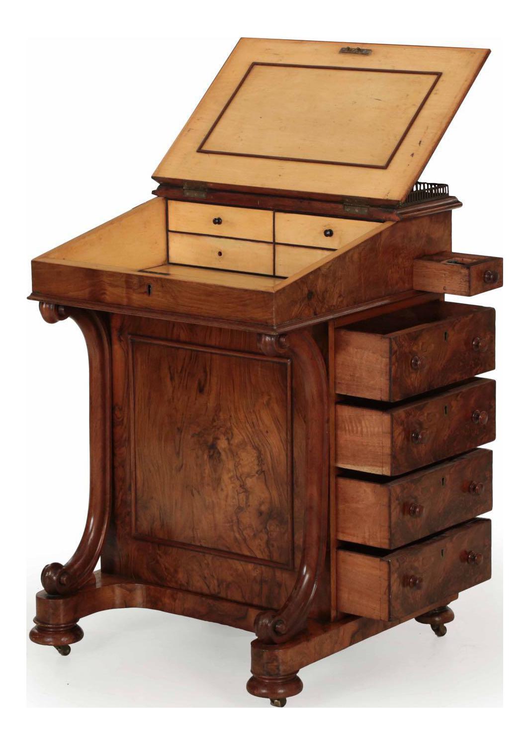 19th Century William Iv Walnut Leather Davenport Antique Desk Antique Furniture Furniture Antique Desk