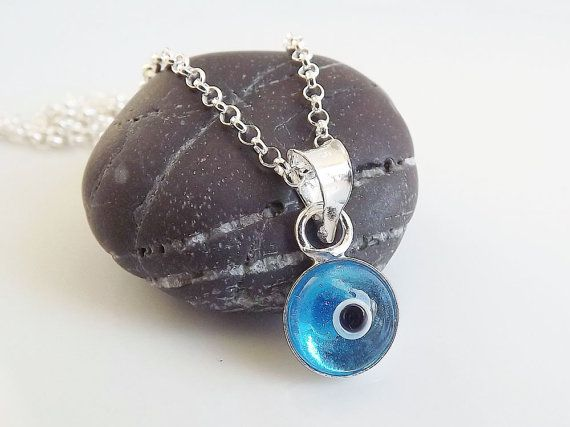 Evil eye necklace sterling silver 925 translucent blue genuine beautiful earrings mozeypictures Images