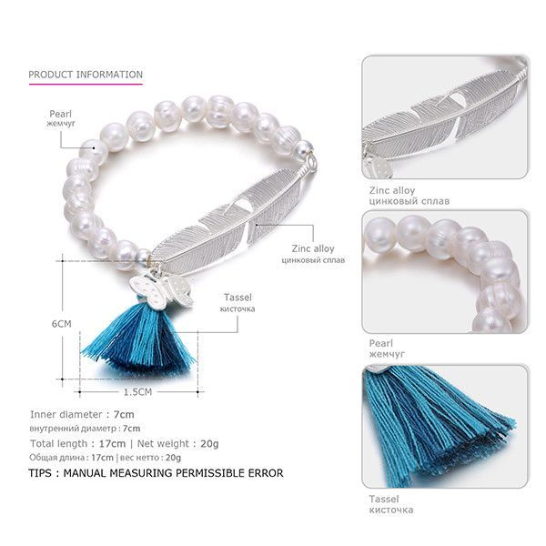 eManco Trendy Bohemia Tassel Statement Charms Bracelets & Bangles for Women Pearls Feather Shape Metal Jewelry for 2016 Summer