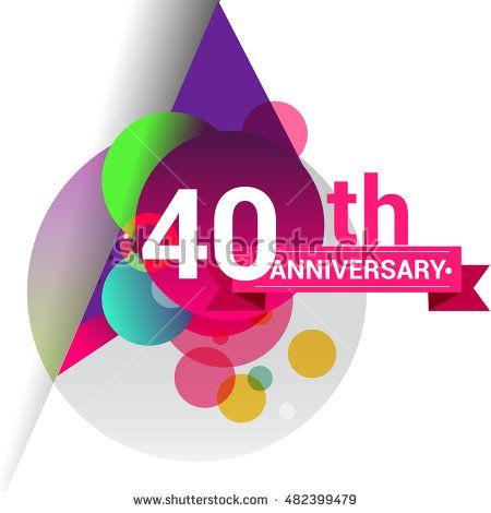 40th anniversary logo colorful geometric background vector design