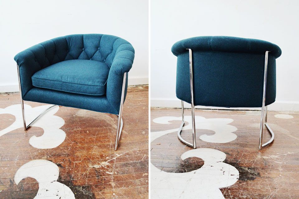 One of our favorite clients, designer Allison Tick, purchased this fab Vintage Milo Baughman for Thayer Coggin floating circular club chair from our inventory for a New York client. The chair is reupholstered in a luxe 100% merino wool felt.