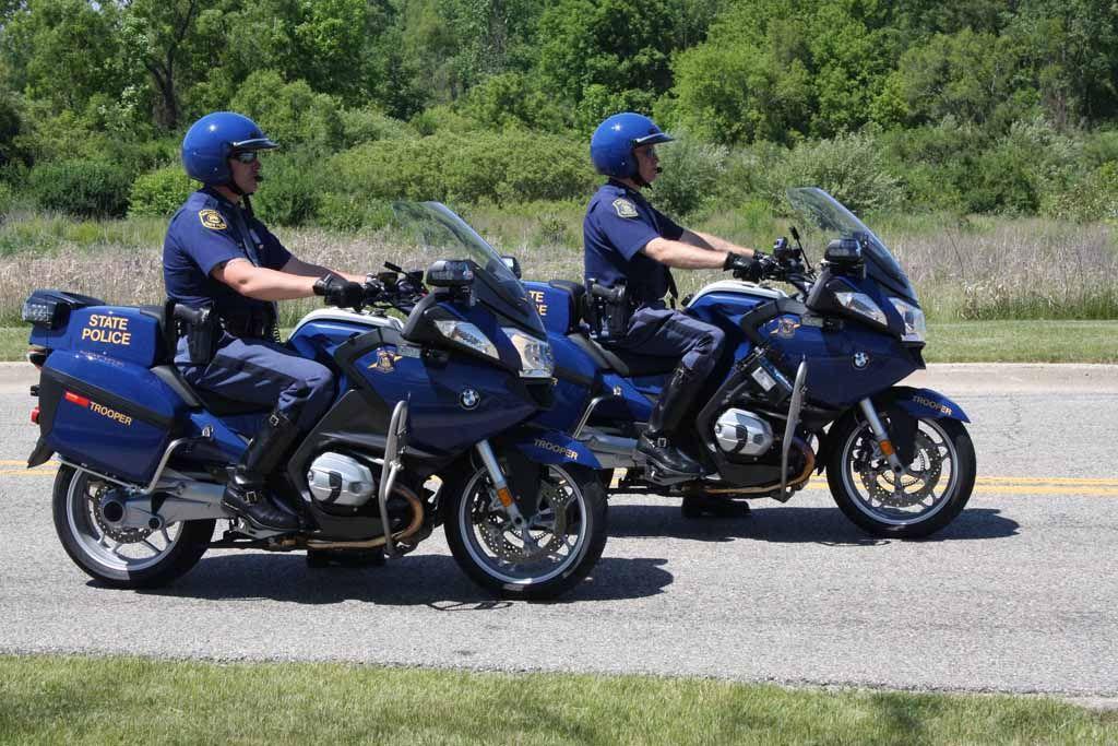 michigan state police on their bmw r1200rt-p #setcom | police
