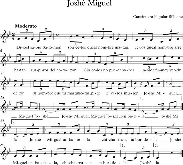 Joshé Miguel. Canción Popular Bilbaína.