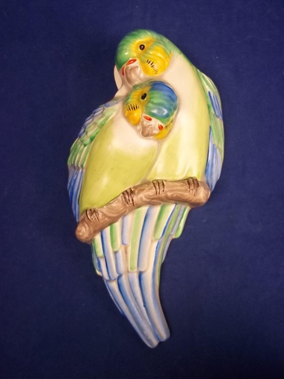 Art Deco Clarice Cliff Australian Love Birds Wall Pocket c.1930 ...