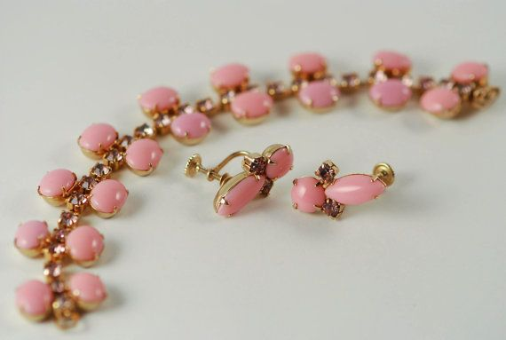 Pink Milk Glass and Rhinestone Bracelet and by AMagnificentMess, $34.95