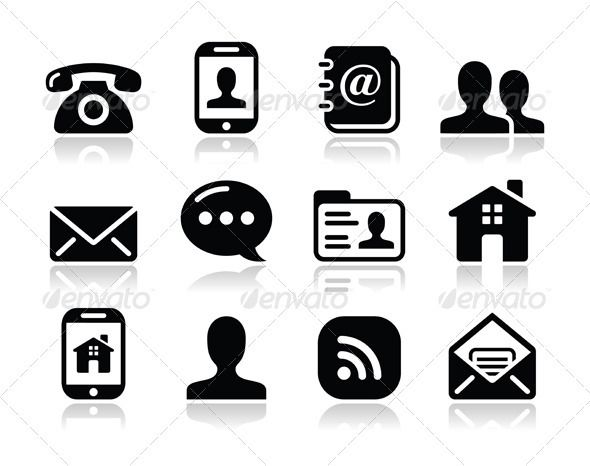 graphicriver contact black icons set mobile user email 3504657