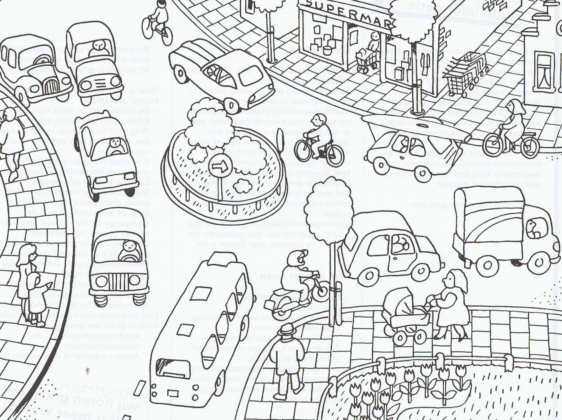 verkeer kleurplaten vervoer peuter thema