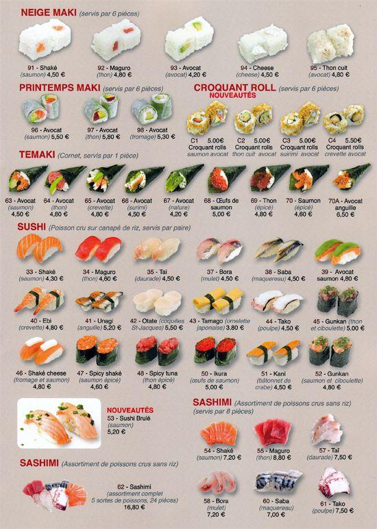 Restaurant Japonais Sushi Wallace, Carte