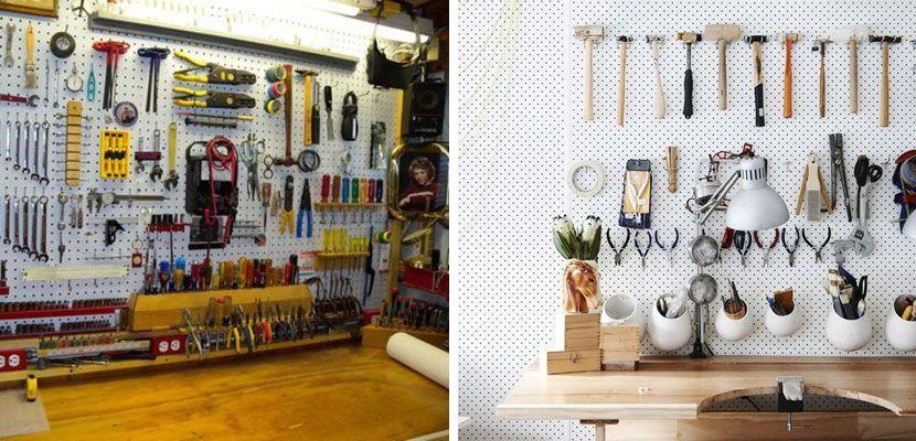 paneles perforados para organizar el garaje | garaje- ideas