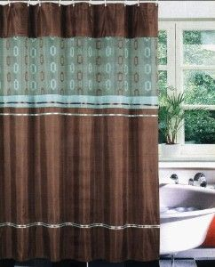 brown teal fabric bath shower curtain