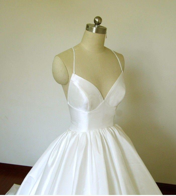 Cool Ball Gown Taffeta Simple Wedding Dress Criss-Cross