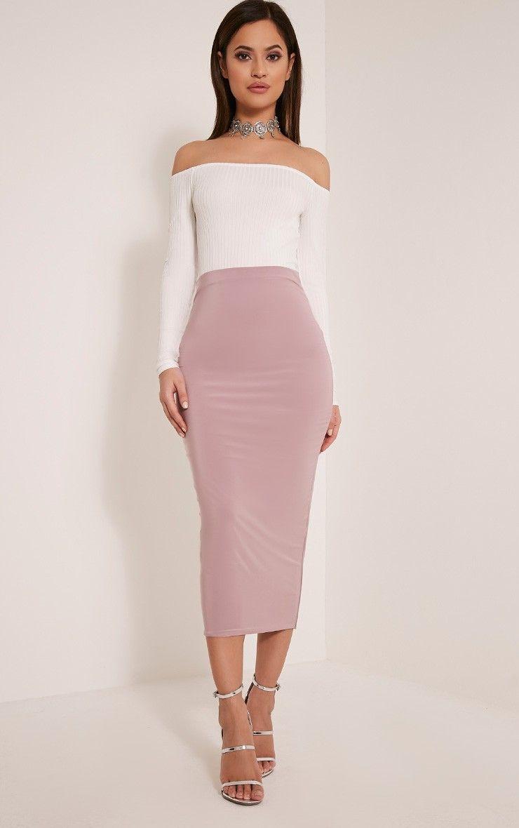 Steffany Mauve Slinky Long Line Midi Skirt | //FASHION: My Style ...