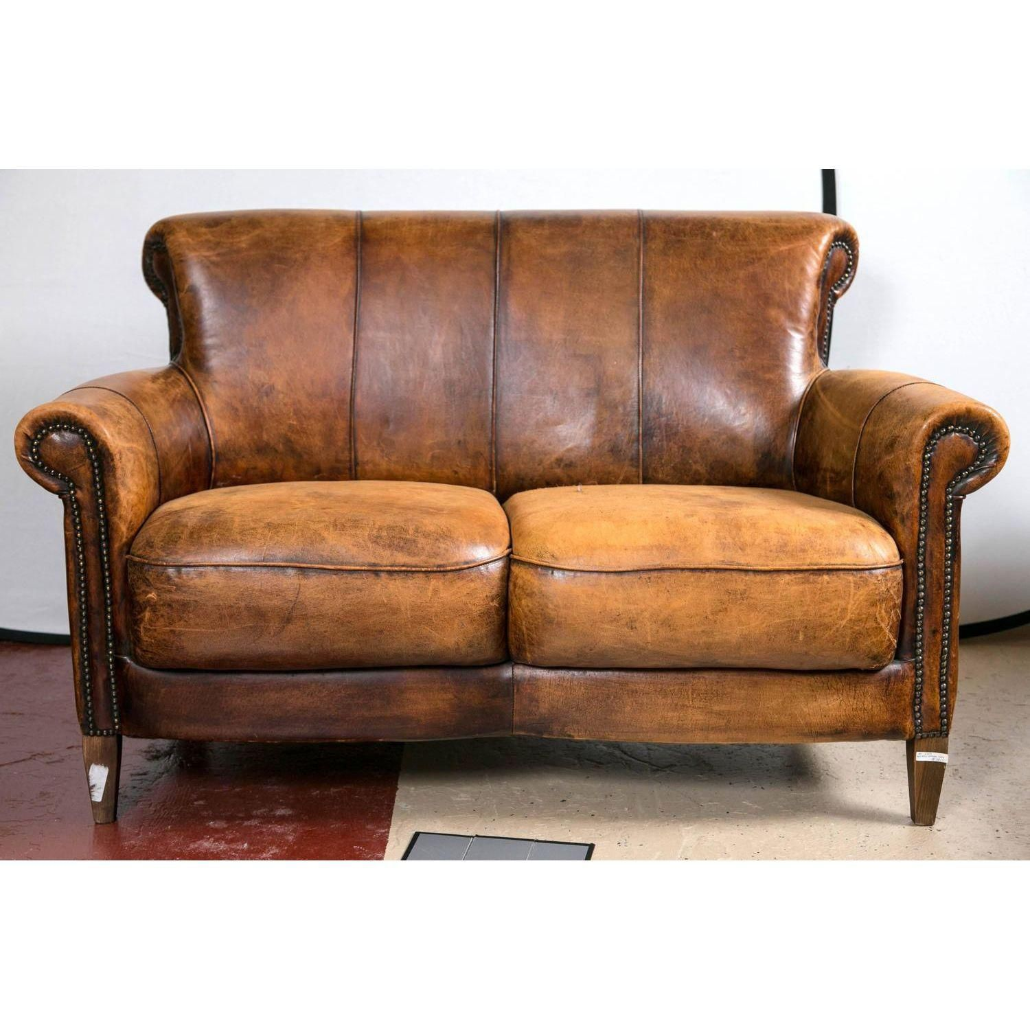 Image Of Vintage French Distressed Art Deco Leather Sofa Leather Sofa Art Deco Sofa Vintage Leather Sofa