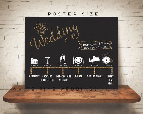 Poster Size Custom Wedding Timeline Printable Timeline Wedding