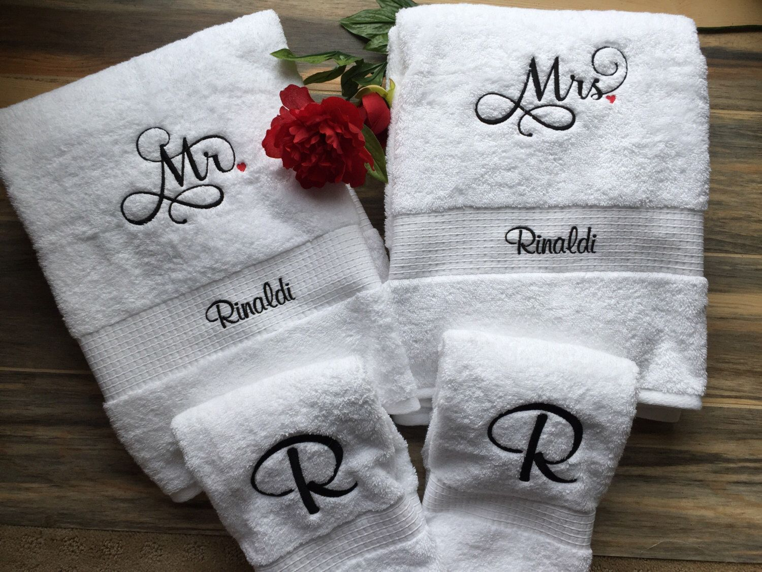 King and Queen Towel Sets Personalized Gift Wedding Bride and Groom His /& Hers
