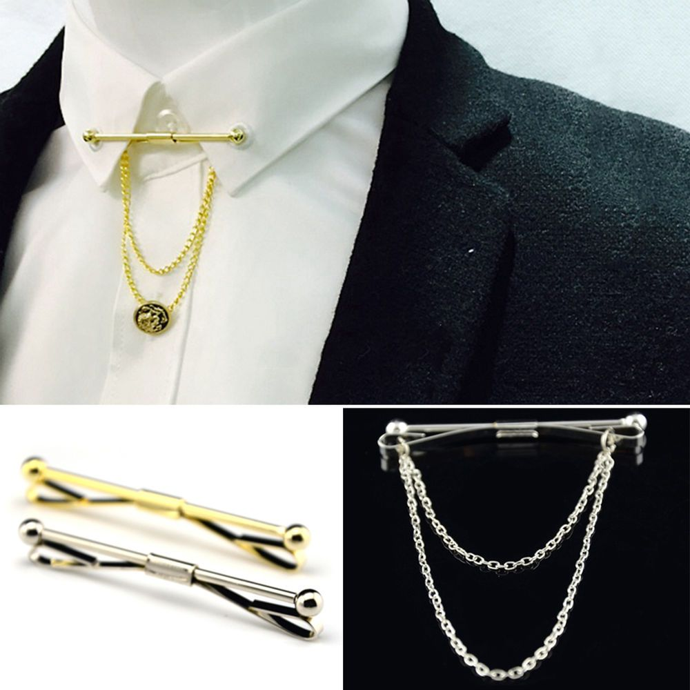 Hot Mens Silver Gold Necktie Tie Clip Bar Clasp Cravat Pin ...