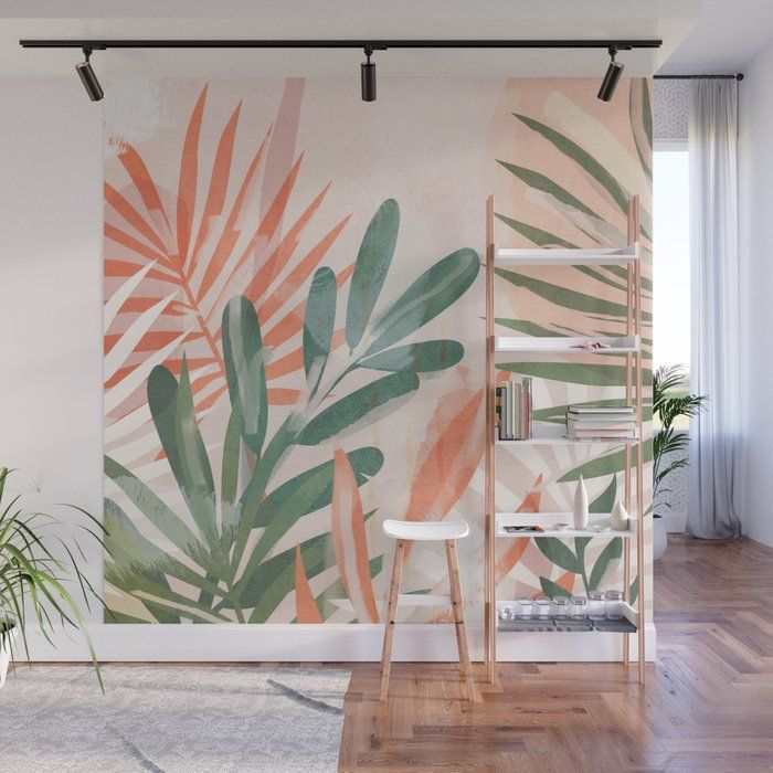 Tropical Leaves 4 Wall Mural by Thingdesign - 8' X