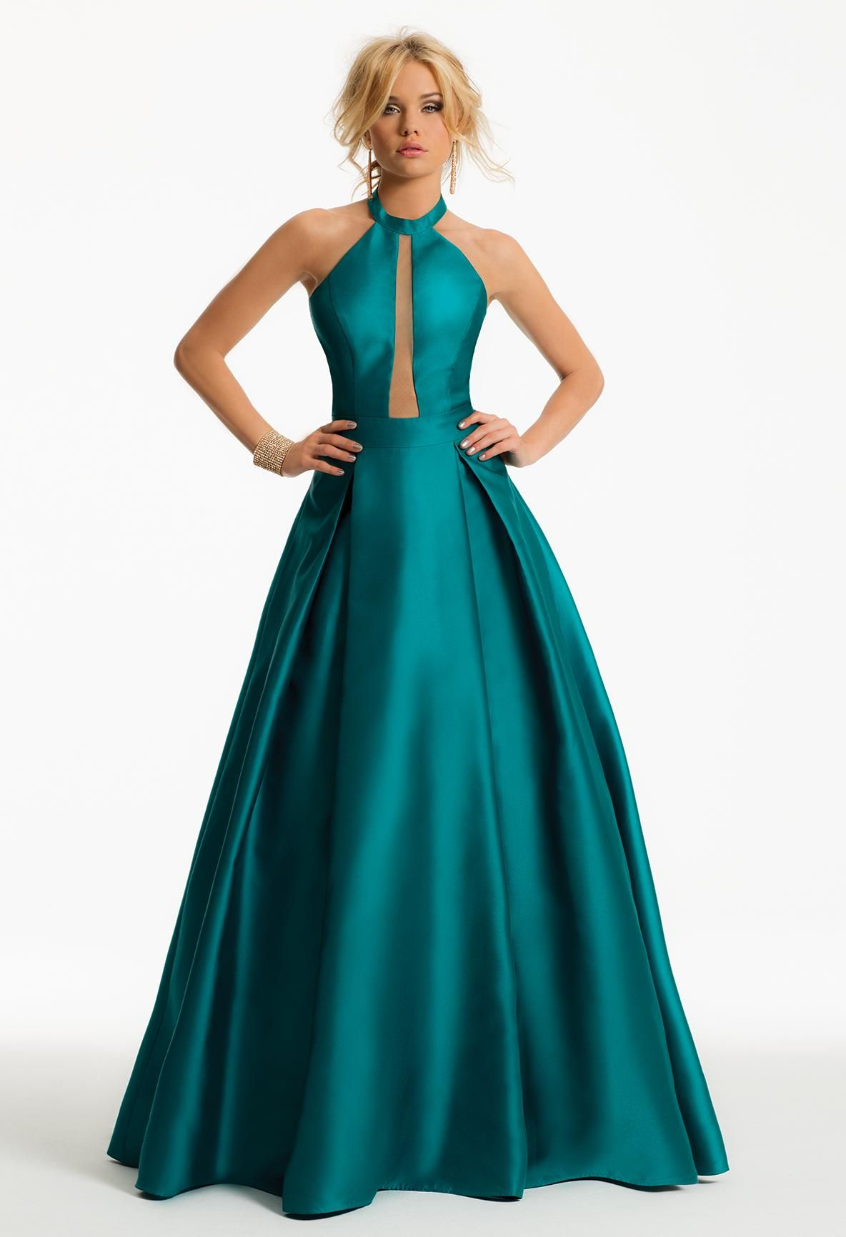 MIKADO ILLUSION PLUNGE DRESS #green #illusion #pretty #evening ...
