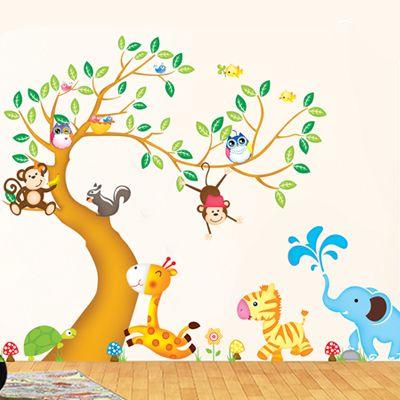 Pas cher Stickers muraux Maison Animaux zoo arbre Décoration Salon - stickers chambre bebe garcon pas cher