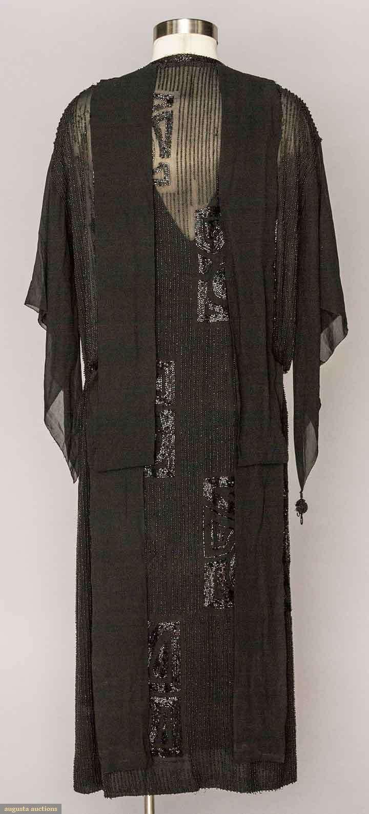 BEADED BLACK FLAPPER DRESS. Silk chiffon, jet bugle bead pin stripe rows & large squares w/ Deco roses. Back