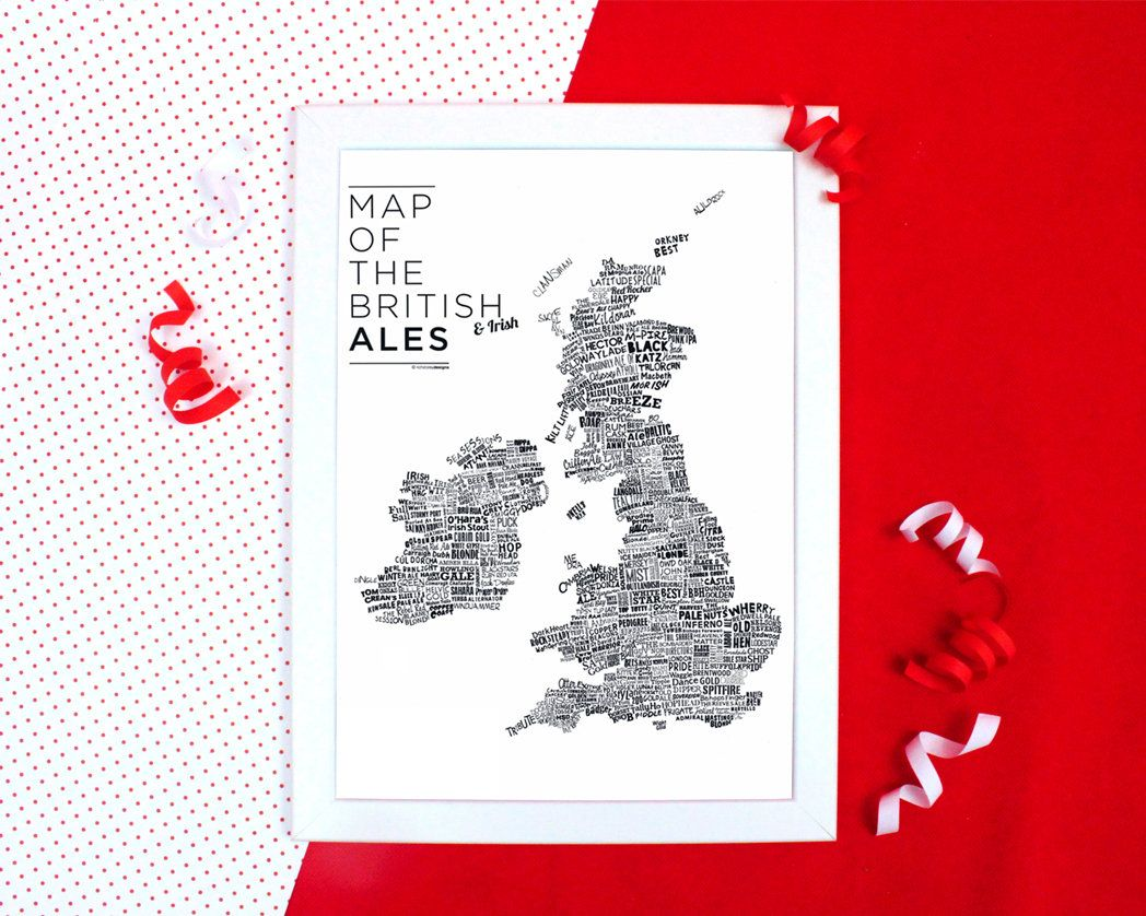 Map Of Uk For Printing.Map Of The British Ales Print Typographic Print Of Uk Map Of