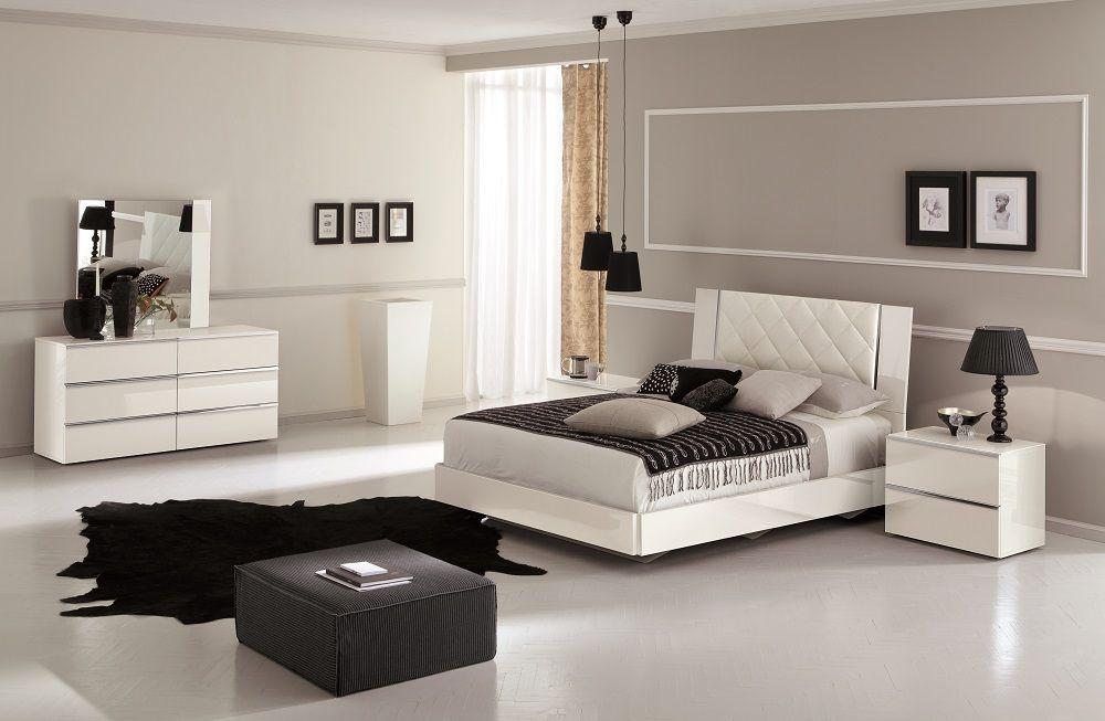 Stella Premium Italian Modern Bedroom Set In White Lacquer |  FurnitureGalleryNYC.com