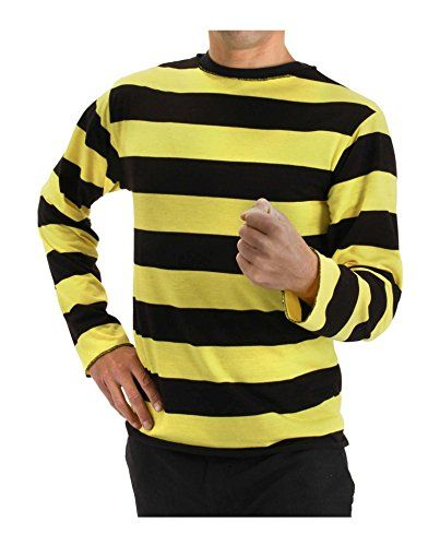 8189df3892 Men's Striped Long Sleeve Costume Shirt Black and Yellow ...