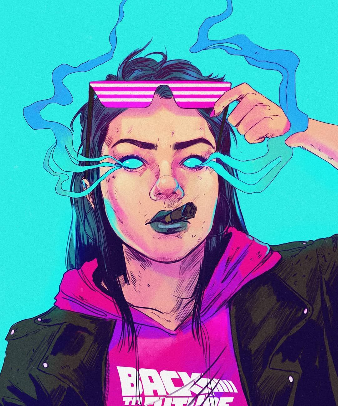 Back To Where New Drawing Trying Out My Skills With Blue Colors Cyberpunk Vaporwave Aesthetic Illustration Grunge Art Hippie Art Drawings