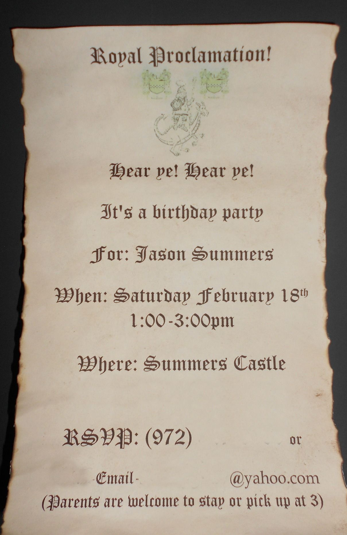 wording for party invitations uk%0A Medieval Times Birthday Invitation  Printed Invitation in Old English Font  and Soaked it in coffee