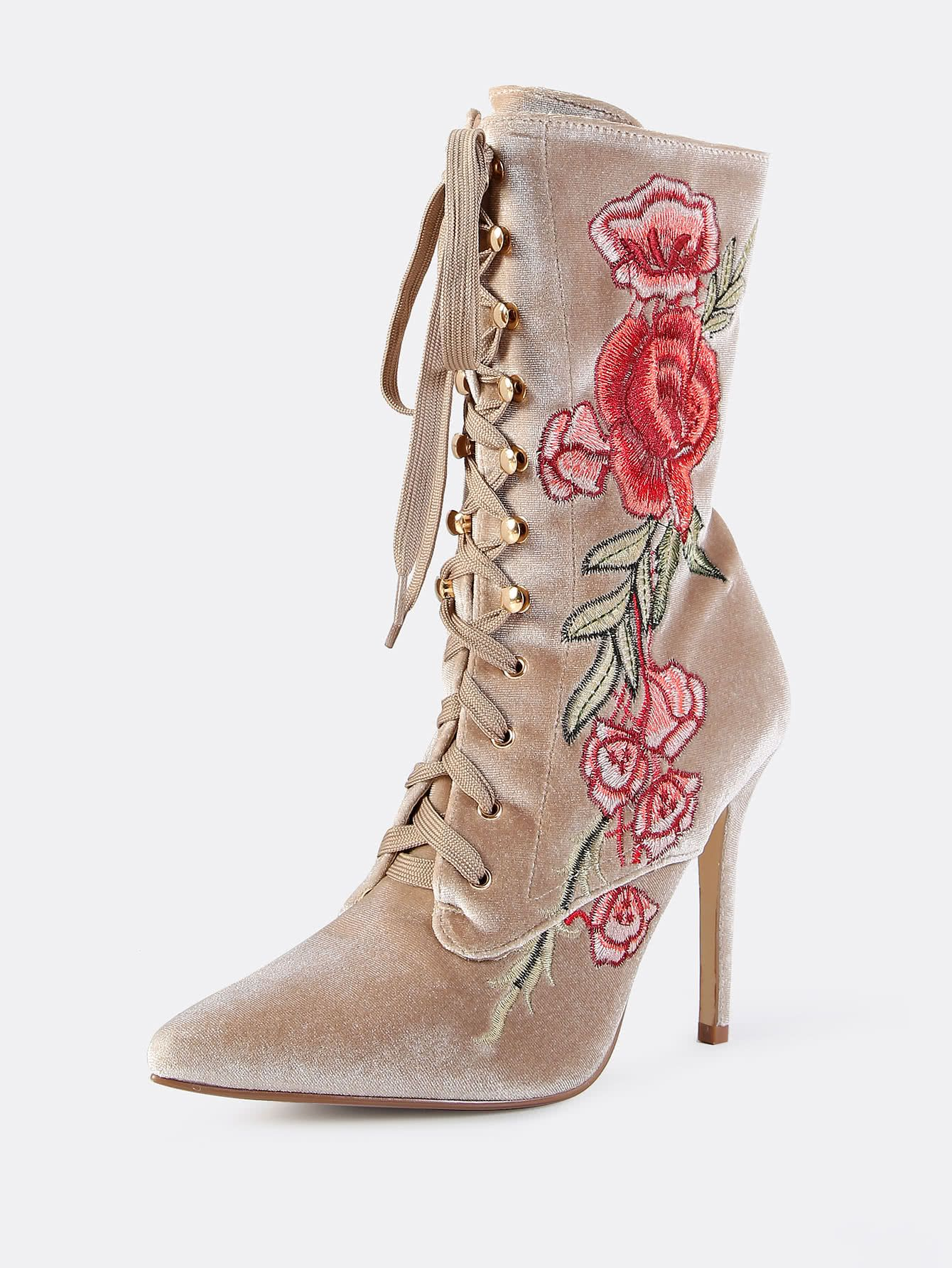 sports shoes 676ca 9adb9 Shop Velvet Floral Embroidered Lace Up Booties NUDE online. SheIn ...
